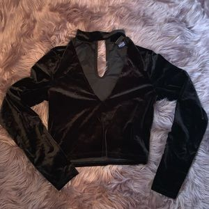 Black velvet long sleeve crop top.